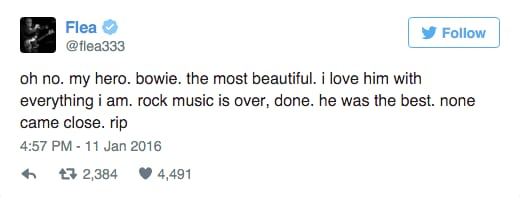Flea's tweet from January 11th - he's obviously a huge Bowie fan, as you can tell!