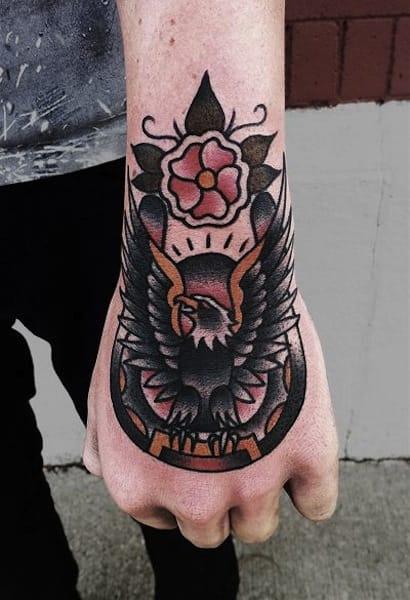 Cool eagle tattoo on a horse shoe