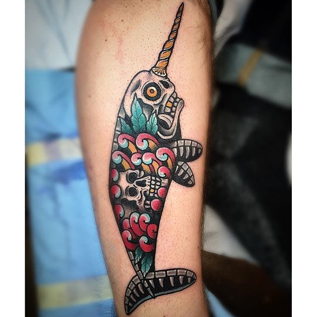 Narwhal Skull Tattoo by Paul Nycz