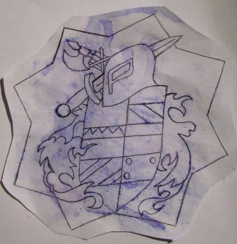 Evgeny's original design sketch for the chest tattoo. Photo courtesy of The New York Times