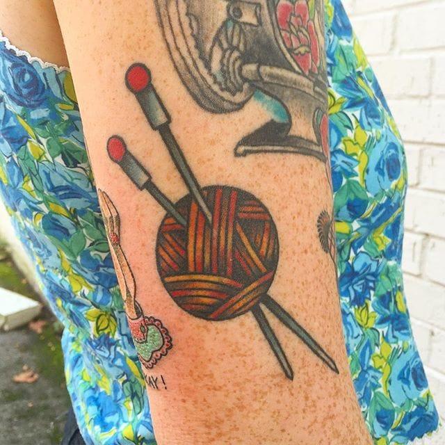Knitting Tattoo by Shawn Dougherty