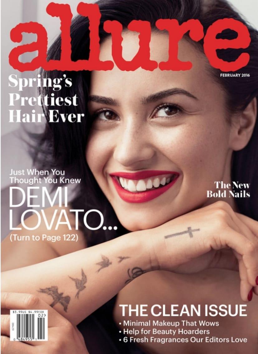 Demi Lovato's tattoo on Allure magazine cover #demilovato #cross #birds