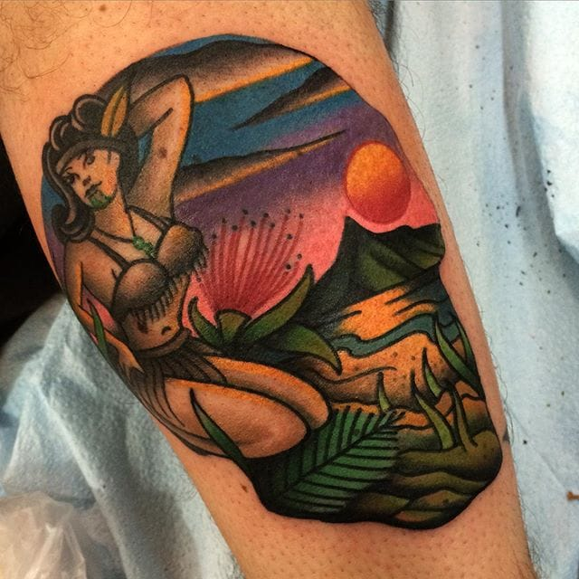 Girl and volcano skull tattoo by Sam Kane