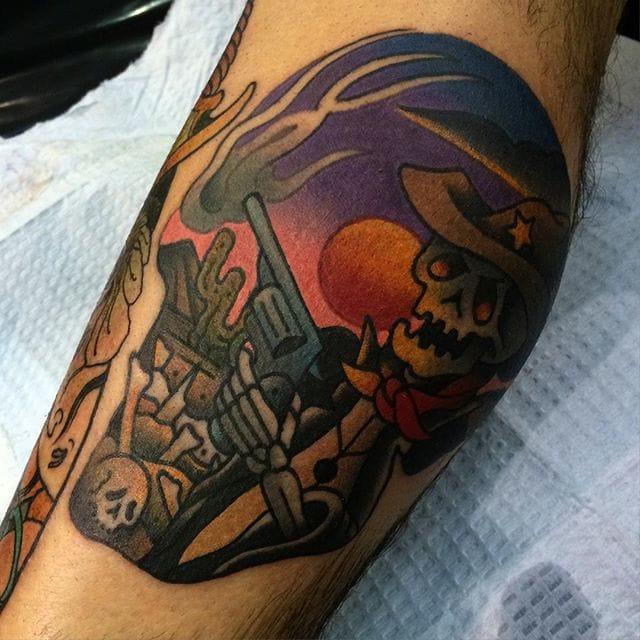 Skeleton sheriff skull tattoo by Sam Kane
