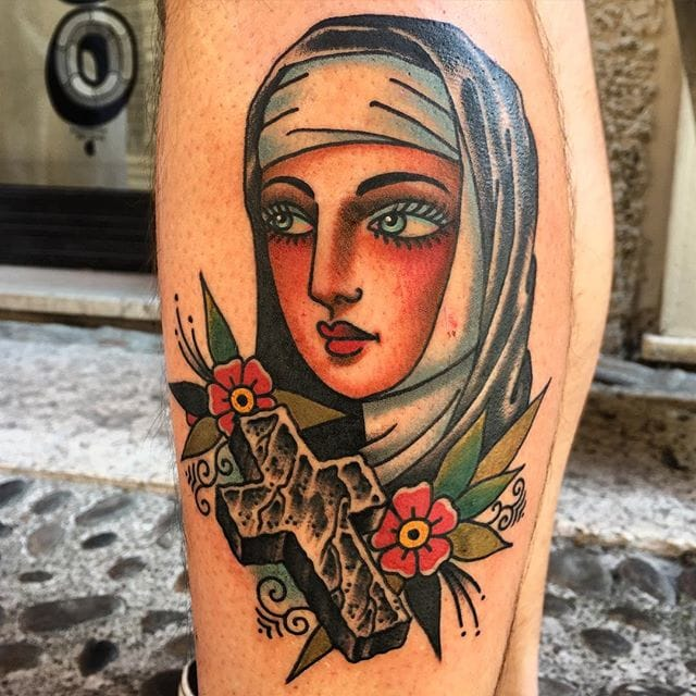 Nun with cross, tattoo by Todd Noble