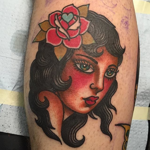 Girl head with roses by Todd Noble