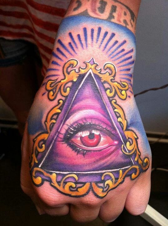 The hands are common placements for the triangular eye.