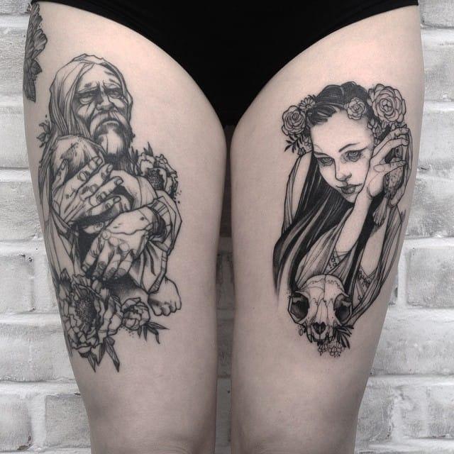 Dark Illustrative Tattoos Of Jenzie