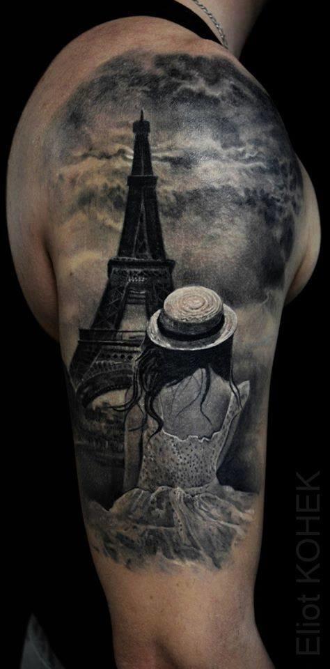 Tribute to Paris in beautiful grey realism