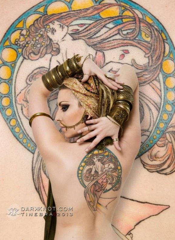 35 Alphonse Mucha Inspired Tattoos