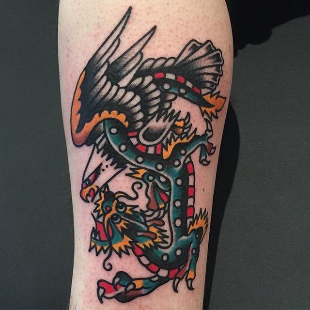 Eagle vs. Dragon. Tattoo by Bert Krak