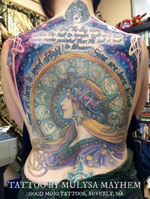 Backpiece inspired by the illustration called Zodiac, by Mulysa Mayhem.