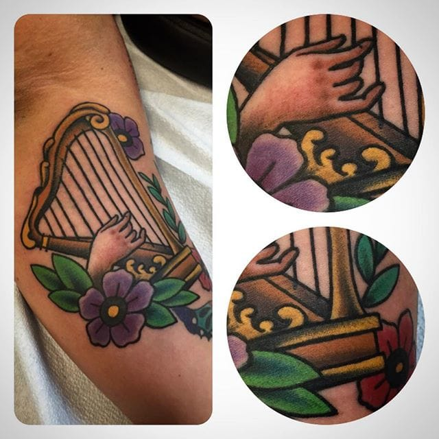 Harp Tattoo by Erin Odea