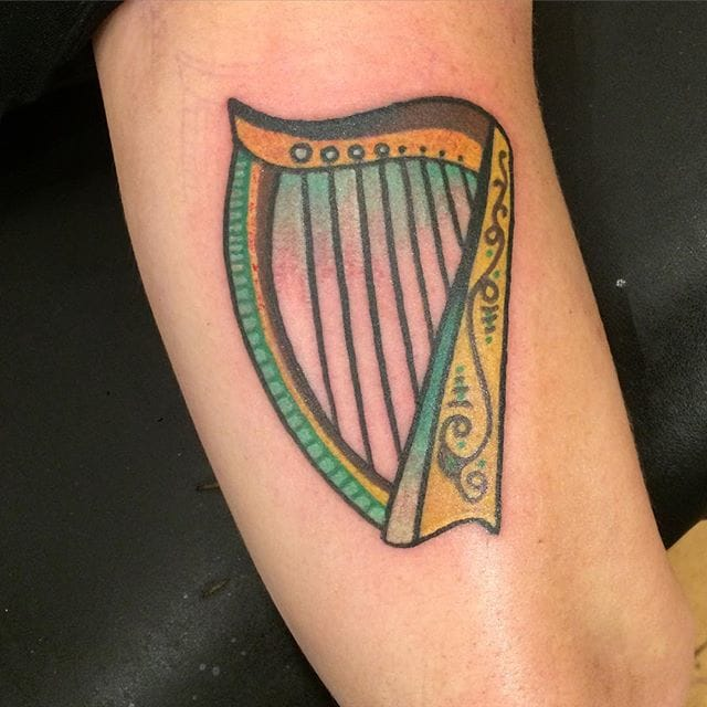 Harp Tattoo by Jessica Jordan Kreh