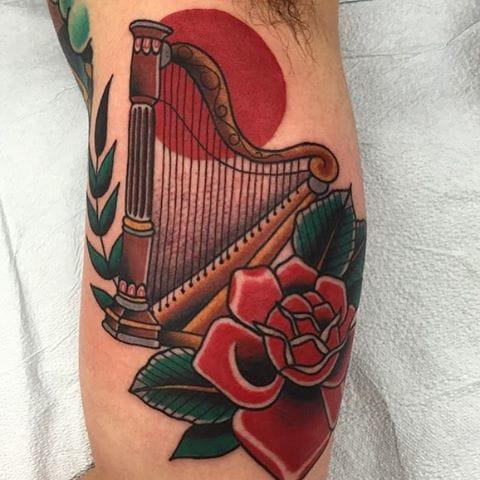 Harp Tattoo by Josh Persons