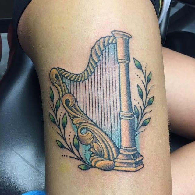 Harp Tattoo by Julie VanderLaan