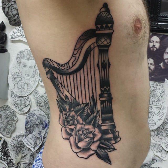 Harp Tattoo by Lars Becker