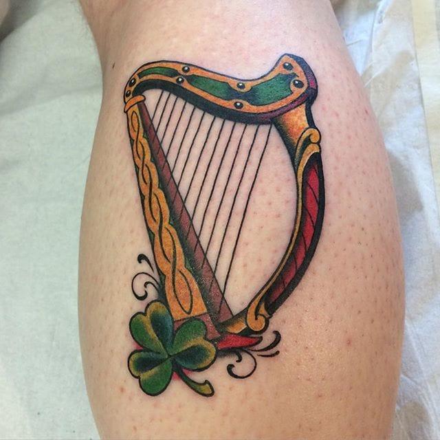 Harp Tattoo by Luke Martin