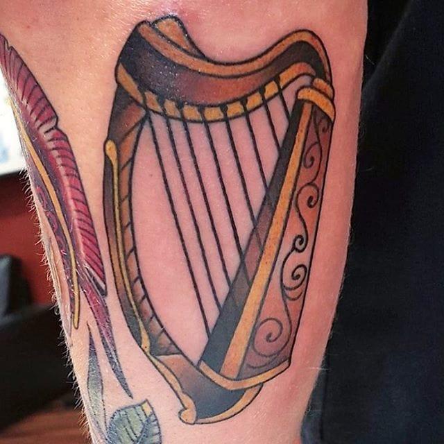 Harp Tattoo by Ray Alfano