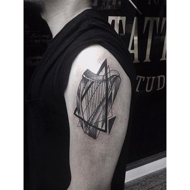Harp Tattoo by Ricardo Garcia