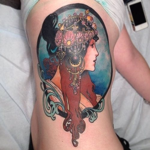 Inspired by one of Mucha's Byzantine Heads, the Brunette. Tattoo artist unknown too.