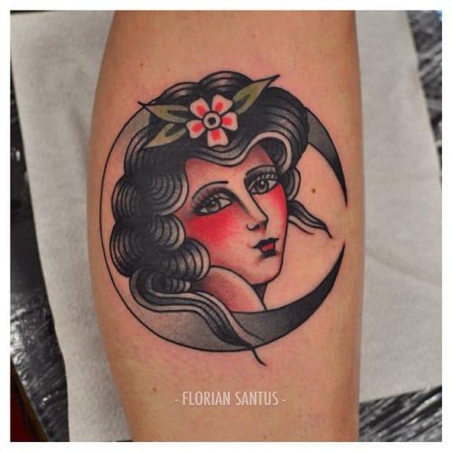 Moon Woman Tattoo by Florian Santus