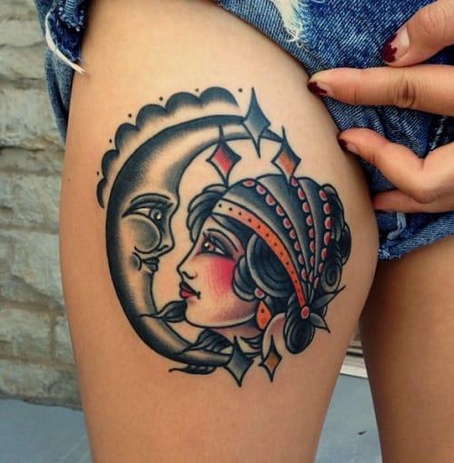 Moon Woman Tattoo by Nick Oaks