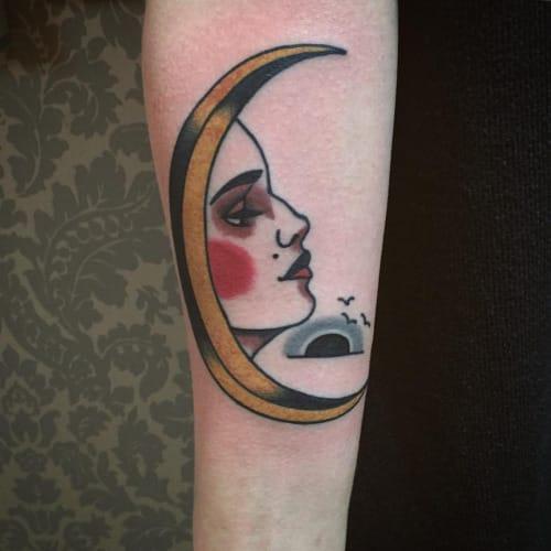 Moon Woman Tattoo by Patryk Hilton