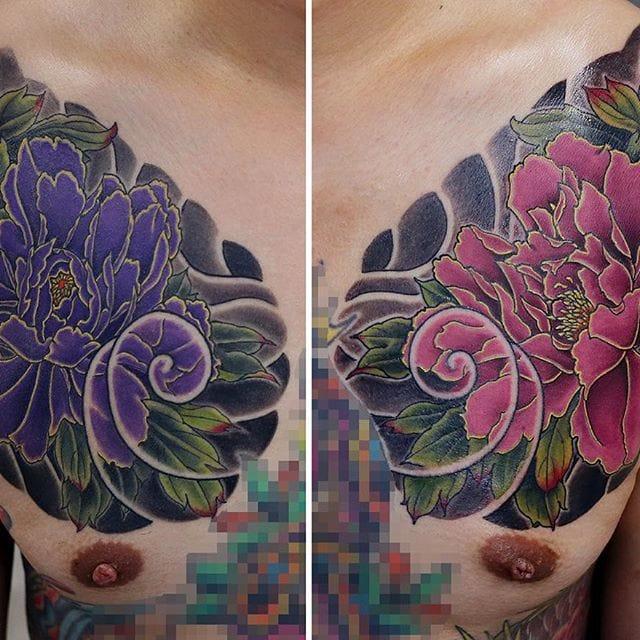 Peony chest tattoos by Kenji Shigehara