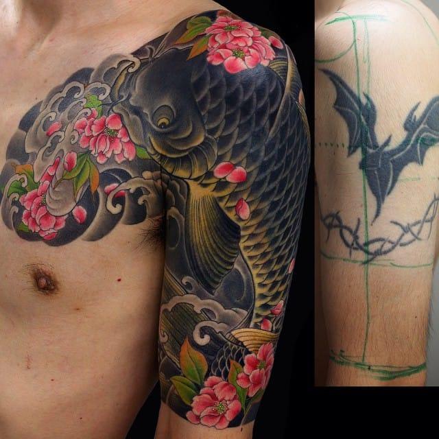 Koi and sakuras. Cover up by Kenji Shigehara