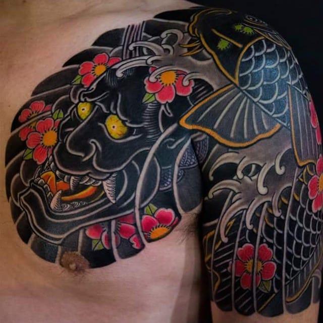 Hannya and Koi tattoo by Haewall