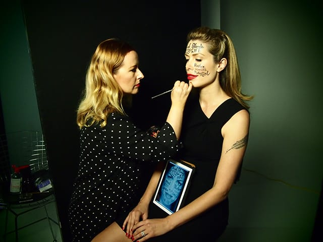 "In the photo shoot for her latest book ""The Fictional Woman"" Tara had her face painted with text, labels she had been called in her career"