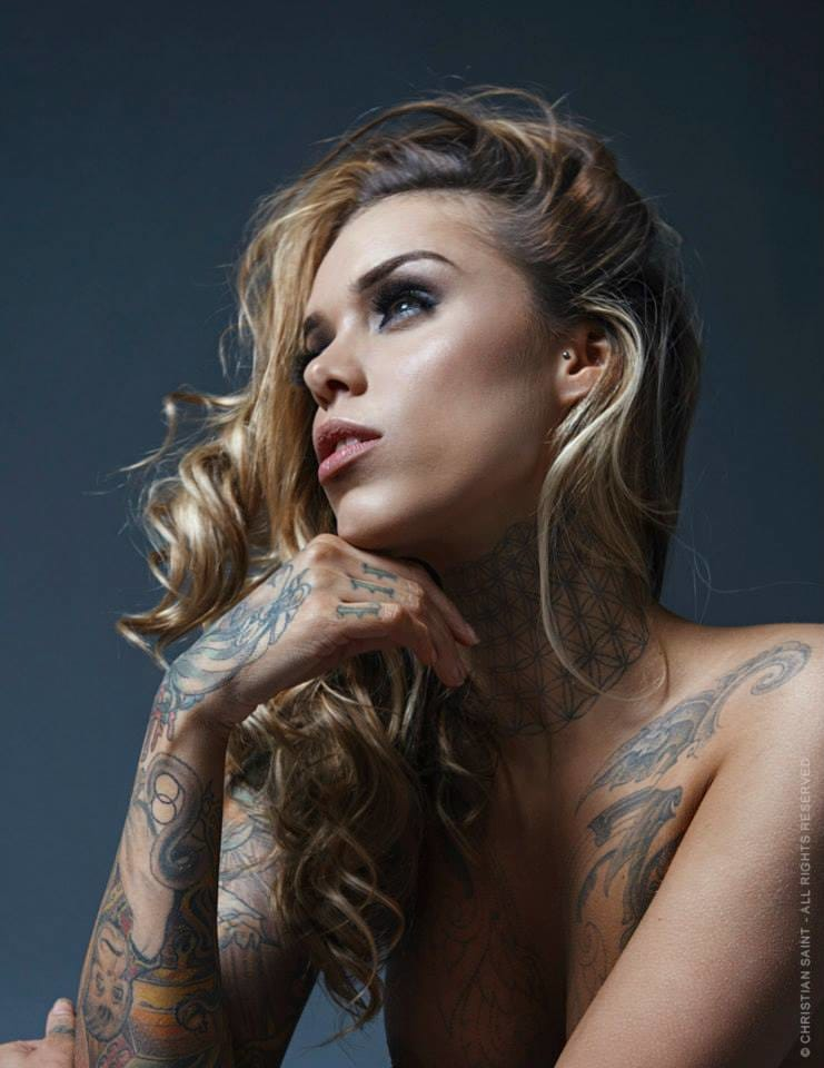 What is Arabella Drummond dreaming about? Photography by Christian Saint. #tattoomodel #tattoodobabe #christiansaint #arabelladrummond