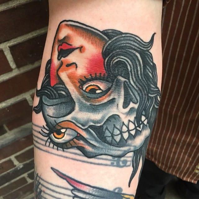 Skull girl head morph, tattoo by Derrick Hooper