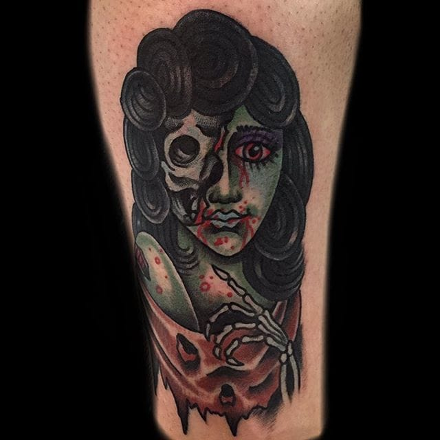 Zombified girl tattoo by Derrick Hooper