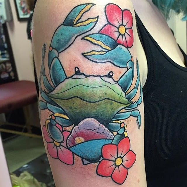 10 Cool Colored Crab Tattoos!