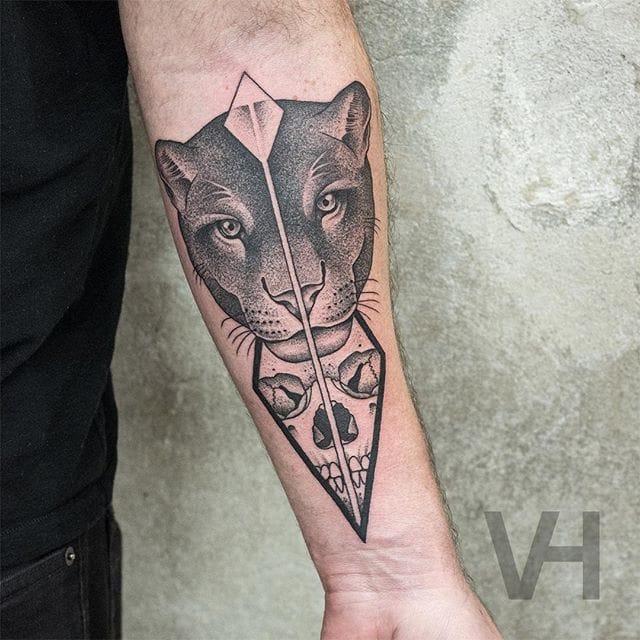 Symmetrical feline + skull portrait