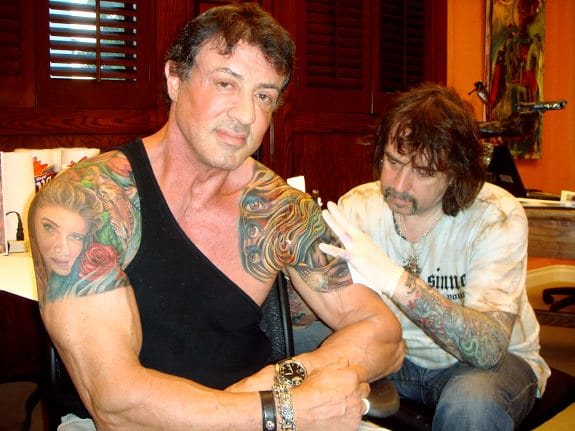 Mario Barth worked on a few of Sylvester Stallone's tattoos