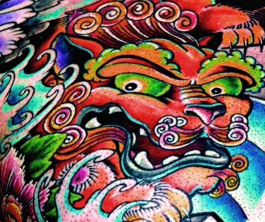 Oriental color Foo Dog design
