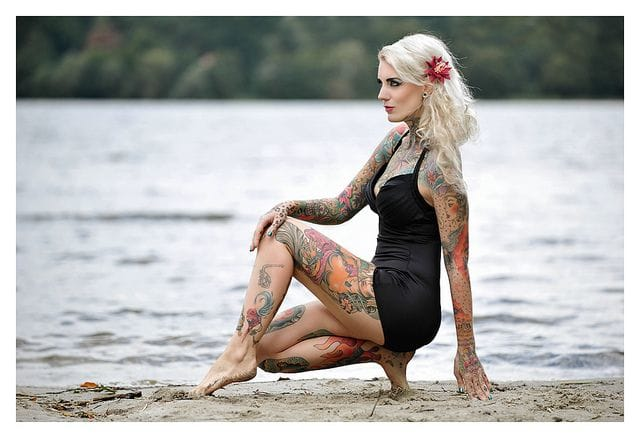 Lexy Hell by the river, photographer unknown. #lexyhell #tattoomodel #tattoodobabe