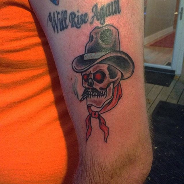 Cowboy Skull Tattoo by Anthony Ojeda