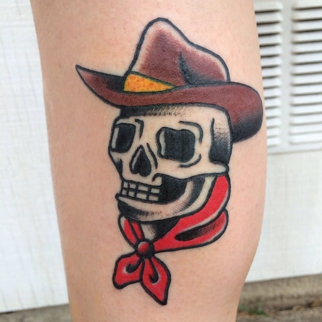 Cowboy Skull Tattoo by Dylan Donohue