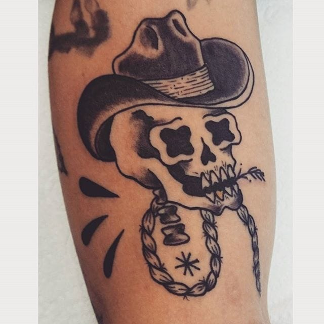 Cowboy Skull Tattoo by Monki Diamond