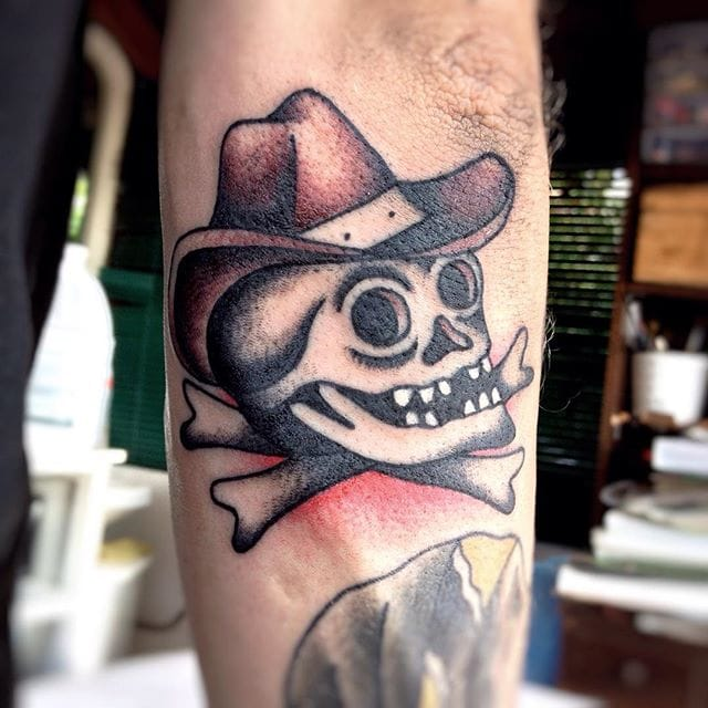 Cowboy Skull Tattoo by Sem Boy Lee