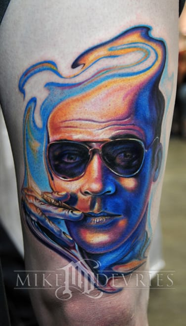 Awesome trippy colorful tattoo of the Gonzo journalist by the talented Mike Devries
