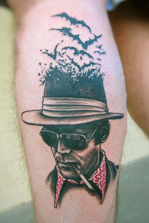 """We can't stop here, this is bat country!"" Tattoo by Mike Biggs"