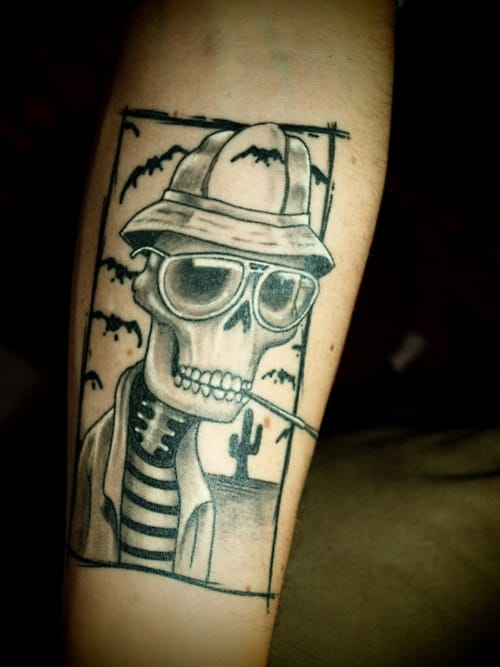 This fun skeleton portrait pays homage to Thompson Fear and Loathing style...design by Mad Genius Darling Tattoo