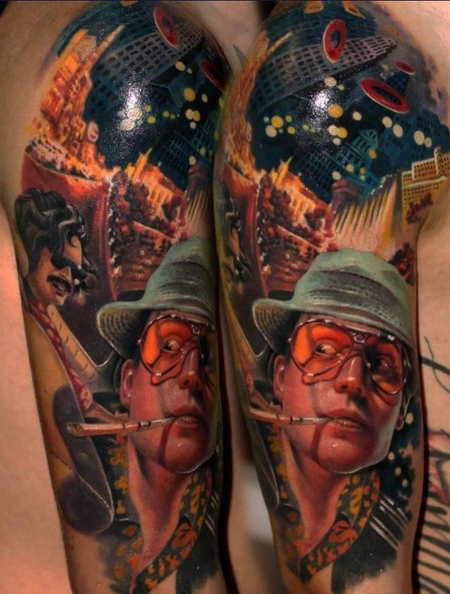 Killer Fear and Loathing tattoo of Raoul Duke and his attorney and fellow drug fiend Dr. Gonzo. Tattoo by Müllner Csaba