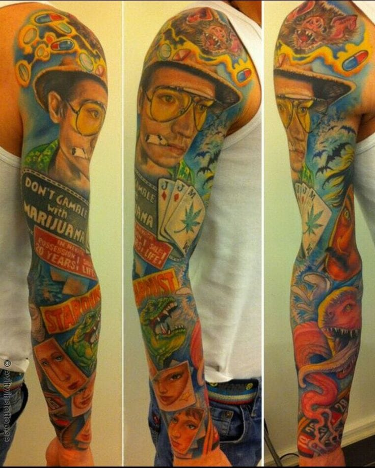 How about a whole sleeve dedicated to surreal drug trip of Fear and Loathing in Las Vegas? Tattoo from Evil Twins Tattoo