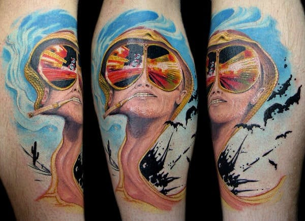 The official movie promo image for Terry Gilliam's Fear and Loathing movie. Tattoo by Dan Hazelton